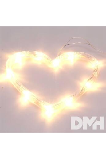 Szív alakú 16x17cm/meleg fehér LED-es tapadókorongos fénydekoráció
