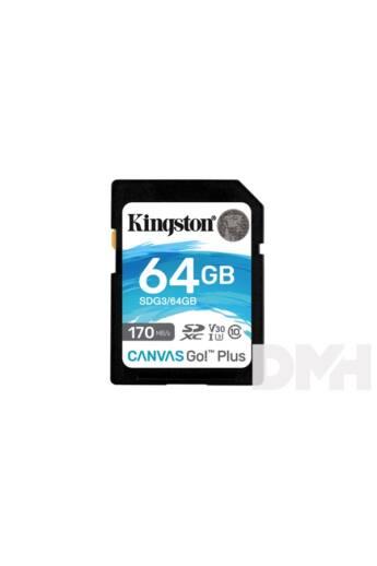 Kingston 64GB SD Canvas Go Plus (SDXC Class 10 UHS-I U3) (SDG3/64GB) memória kártya