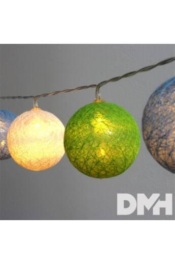 Gömb alakú 6cm/színes fonott/4,5m/zöld-kék-fehér/30db LED-es/USB-s fénydekoráció