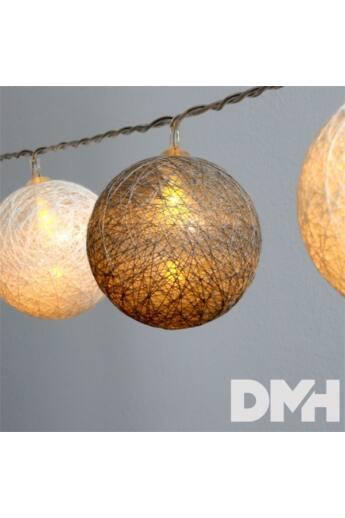 Gömb alakú 6cm/színes fonott/1,5m/szürke-fehér/10db LED-es/USB-s fénydekoráció