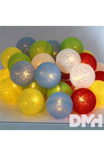 Gömb alakú 6cm/színes fonott/4,5m/több színű/30db LED-es/USB-s fénydekoráció