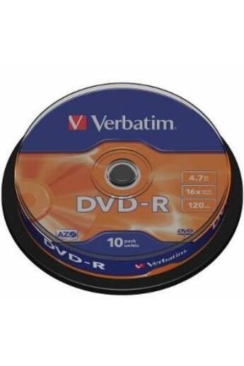 Verbatim DVD-R [ cake box 10   4.7GB   16x   matt ezüst ]