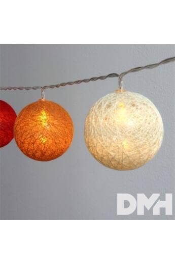 Gömb alakú 6cm/színes fonott/4,5m/piros-narancs-meleg fehér/30db LED-es/USB-s fénydekoráció