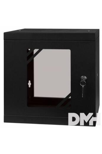 """Stalflex RC10-6U-300GB 10"""" 6U 300 mm mély lapra szerelt fekete üveg ajtós fali rack szekrény"""