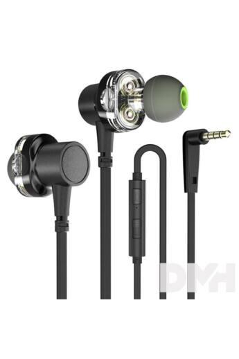 Awei Z1 Dual meghajtós mikrofonos fekete fülhallgató