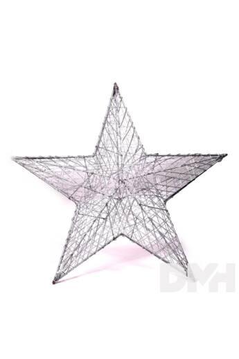 Csillag alakú 52cm/ezüst színű festett fém dekoráció