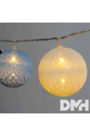 Gömb alakú 6cm/színes fonott/4,5m/kék-v.kék-fehér/30db LED-es/USB-s fénydekoráció