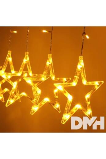 Csillag alakú fix fényű/2,5m/távirányítós/meleg fehér/12db LED-es USB-s fénydekoráció