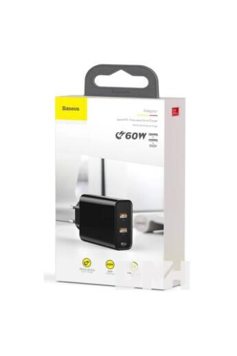 Baseus Speed PPS 2xUSB + USB-C 60W fekete hálózati gyorstöltőfej