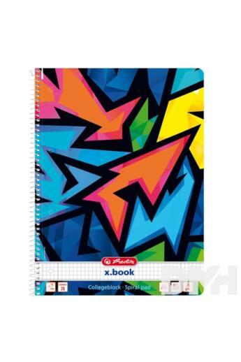 Herlitz Neon Art A4 80lapos kockás spirálfüzet