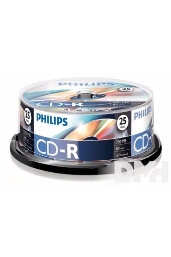 Philips CD-R80CB 52x cake box lemez 25db/csomag