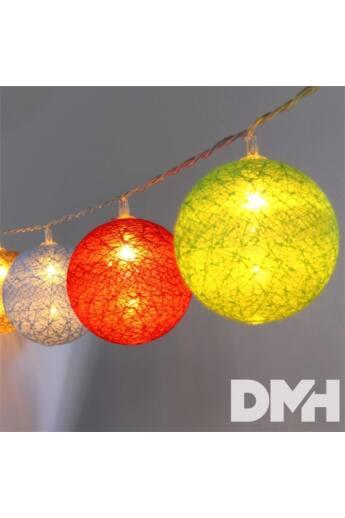 Gömb alakú 6cm/színes fonott/4,5m/barna-piros-kék-zöld/30db LED-es/USB-s fénydekoráció