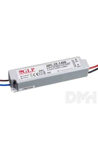 GLP GPCP-35-1400 33.6W 12~24V 1400mA IP67 LED tápegység