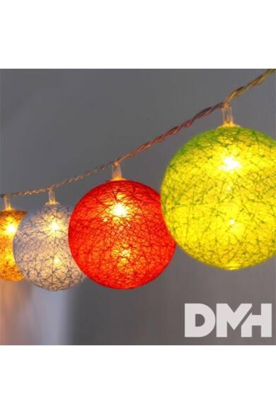 Gömb alakú 6cm/színes fonott/1,5m/barna-piros-kék-zöld/10db LED-es/USB-s fénydekoráció