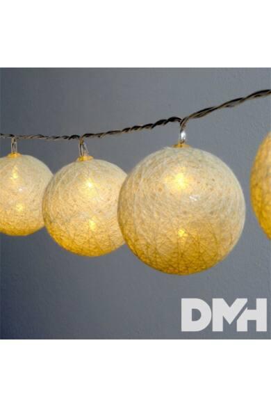 Gömb alakú 6cm/színes fonott/4,5m/meleg fehér/30db LED-es/USB-s fénydekoráció