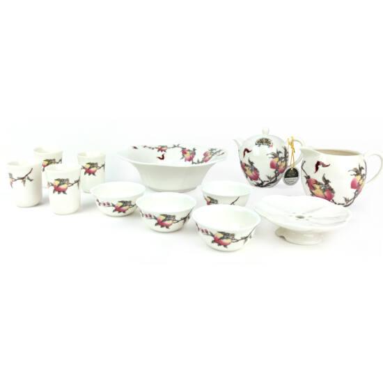 Tradicionális porcelán teázós készlet - Barack+virágos szett