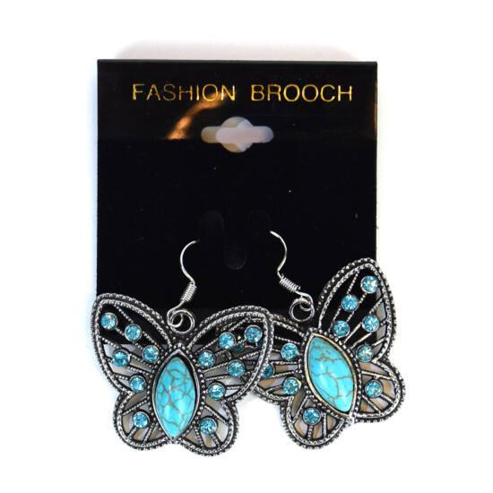Fülbevaló pillangós türkiz