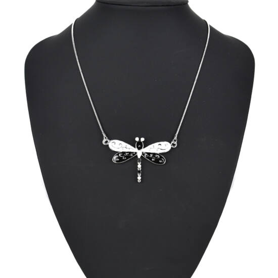 Nyaklánc szitakötős fekete-fehér